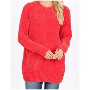 Oversized chenille sweater red S, M, L, XL NWT